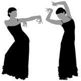 Twee silhouetten van vrouwelijke flamencodanser Stock Afbeelding