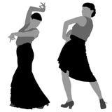 Twee silhouetten van vrouwelijke flamencodanser Stock Foto's