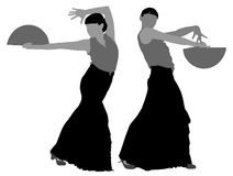 Twee silhouetten van vrouwelijke flamencodanser royalty-vrije illustratie