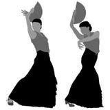 Twee silhouetten van vrouwelijke flamencodanser Stock Foto