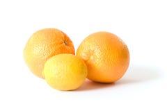Twee Sinaasappelen en een Citroen Stock Foto's