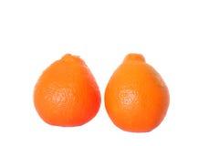 Twee sinaasappelen op geïsoleerde wit Stock Fotografie