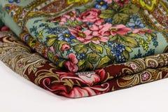 Twee sjaals van Pavlov Posad Stock Foto