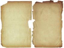 Twee sjofele blanco pagina's met fragmentarische randen. Royalty-vrije Stock Afbeelding