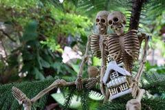 Twee skeletten met huis op hand onder de boom Stock Foto