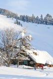 Twee Skiërs beëindigen een Dag van het Ski?en Royalty-vrije Stock Afbeeldingen