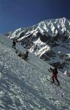 Twee Skiërs Telemark Stock Foto's