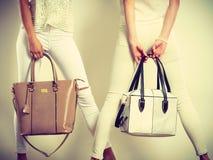 Twee slanke vrouwen binnen met de handtassen van leerzakken Royalty-vrije Stock Afbeelding