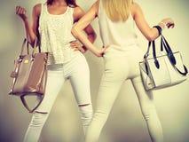 Twee slanke vrouwen binnen met de handtassen van leerzakken Stock Fotografie