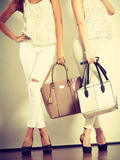 Twee slanke vrouwen binnen met de handtassen van leerzakken Stock Afbeelding