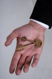 Twee sleutels in een palm Stock Foto's