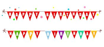 Twee slingers van vlaggen gelukkige verjaardag Vector illustratie vector illustratie