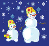Twee sneeuwmannen Stock Afbeelding