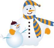Twee sneeuwmannen royalty-vrije illustratie