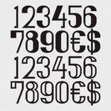 Twee soorten zwarte aantallen met dollar en euro symbolen - hoogtepunt en hol Stock Afbeelding