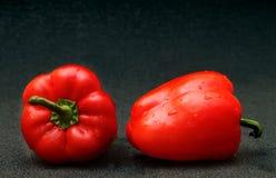 Twee Spaanse pepers op een zwarte achtergrond Royalty-vrije Stock Foto's