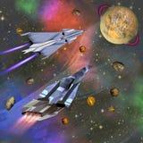 Twee spaceships die aan een onbekende planeet vliegen royalty-vrije illustratie