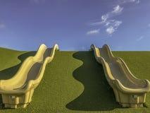 Twee speldia's op groen gras onder blauwe hemel royalty-vrije stock afbeelding