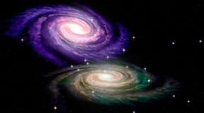 Twee Spiraalvormige Galaxys Stock Afbeeldingen