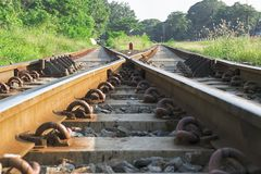 Twee spoorwegsporen royalty-vrije stock fotografie