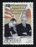 Twee staatsmannen die veiligheidsverdrag ondertekenen Stock Foto's