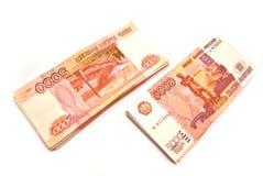 Twee stapel bankbiljetten Stock Foto's
