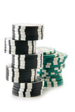 Twee stapels casinospaanders Stock Foto
