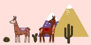 Twee statuslama's met cactussen en bergen, de stijl van de lijnkunst, met lege ruimte voor teken, reis in het concept van Peru royalty-vrije illustratie