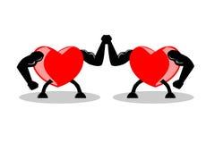 Twee sterke harten die handen opheffen samen, vectorillustratie, EPS10 royalty-vrije illustratie