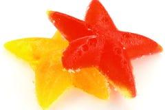 Twee sterren van fruitsuikergoed Royalty-vrije Stock Afbeeldingen
