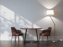 Twee stoelen en lijst in modern binnenland het 3d teruggeven Stock Foto's