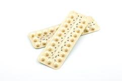 Twee stroken van contraceptieve pillen Royalty-vrije Stock Afbeeldingen