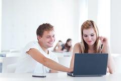 Twee studenten die pret hebben die samen bestudeert Royalty-vrije Stock Afbeelding
