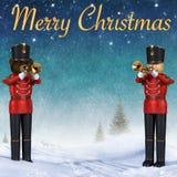 Twee stuk speelgoed militairen die trompetten in sneeuw spelen royalty-vrije illustratie