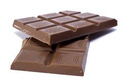 Twee stukken van chocolade Royalty-vrije Stock Foto's