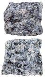 Twee stukken van Gabbro (basalt) minerale steen stock afbeelding