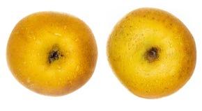 Twee stukken van gele appel Chantecler, chanteclerc, Malus-domestica royalty-vrije stock foto