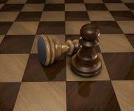 Twee stukken van het schaakpand op geruite schaakraad Stock Fotografie