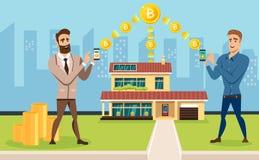 Twee succesvolle mensen zijn bezet van mijnbouw en uitwisseling van crypto munt stock illustratie
