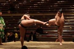 Twee sumoworstelaars die klaar voor een strijd worden Royalty-vrije Stock Foto