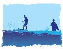 Twee surfers royalty-vrije illustratie
