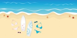 Twee surfplankenbikinis en zonnebril op het strand vector illustratie