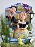 Twee Sweetharts die van een Vreedzame Riviertrap genieten royalty-vrije stock foto