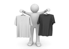 Twee t-shirts op kleerhangers - Levensstijl Stock Afbeelding