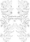 Twee taklijn met bloemen Stock Afbeeldingen