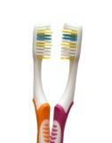 Twee tandenborstels Royalty-vrije Stock Afbeeldingen