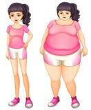 Twee tegenovergestelde dames die roze dragen royalty-vrije illustratie