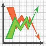 Twee tegenovergestelde pijlen op de grafiek royalty-vrije illustratie