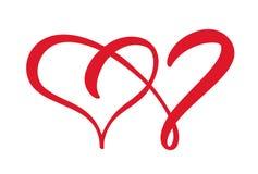 Twee tekens van het liefdehart romantisch Het vectorsymbool van het illustratiepictogram - sluit me aan bij hartstocht en huwelij royalty-vrije illustratie