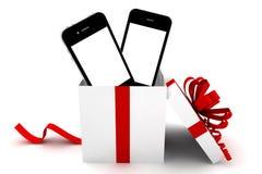 Twee telefoons in een gift Royalty-vrije Stock Fotografie